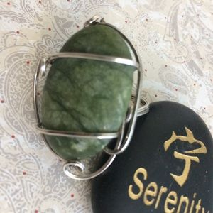 Wire Wrap S S Ring with Green Turquoise Size 8